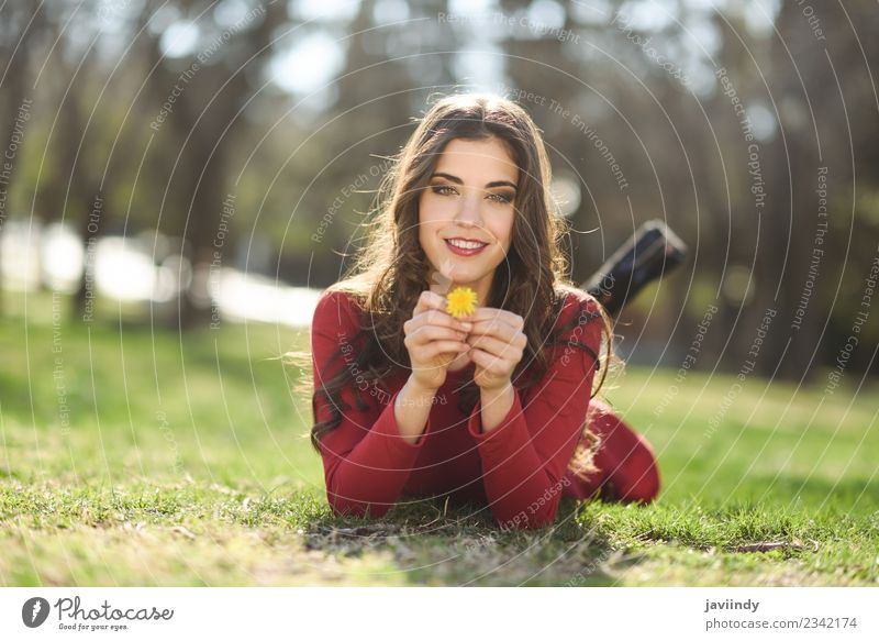 young woman rest in the park smiling with a dandelion Woman Human being Nature Youth (Young adults) Young woman Summer Beautiful Flower Red Relaxation Joy