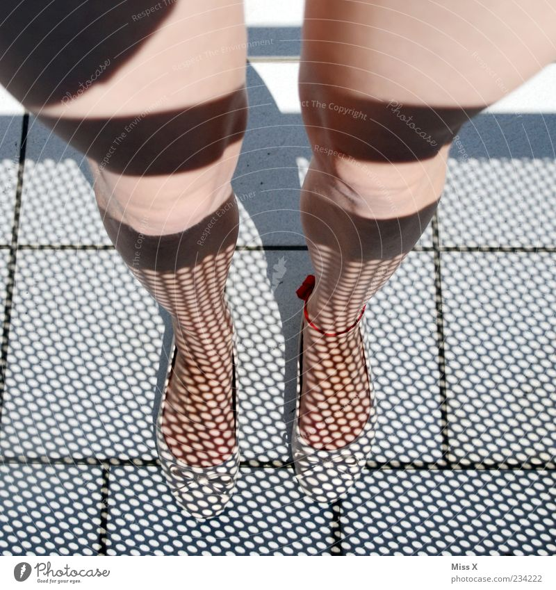 Human being Youth (Young adults) Feminine Legs Funny Feet Young woman Point Bizarre Paving tiles Shadow play Woman's leg Delightful Ankle chain