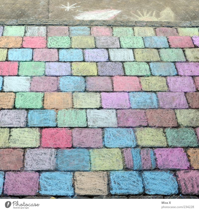 Playing Lanes & trails Art Background picture Leisure and hobbies Creativity Painting (action, artwork) Sidewalk Draw Cobblestones Chalk Copy Space Childlike