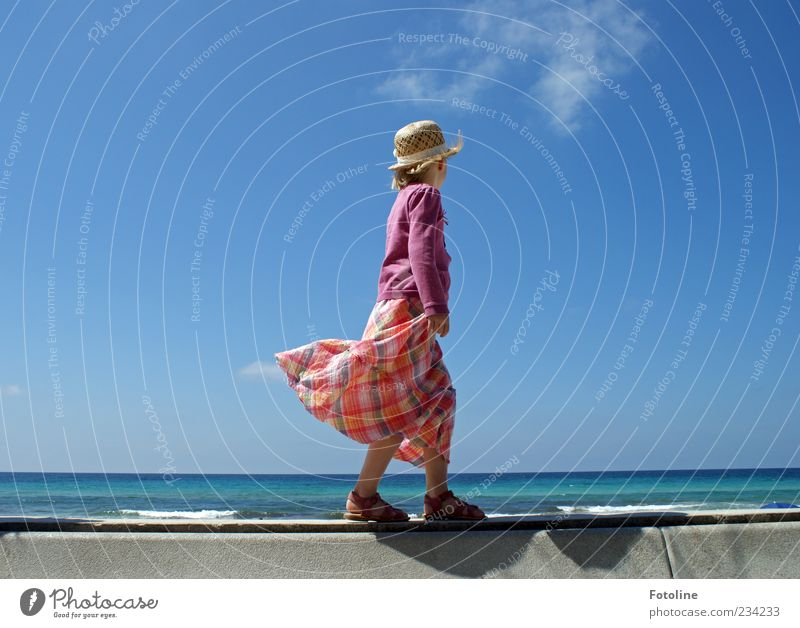 Human being Nature Blue Girl Ocean Clouds Environment Feminine Coast Legs Bright Feet Infancy Waves Wind Going