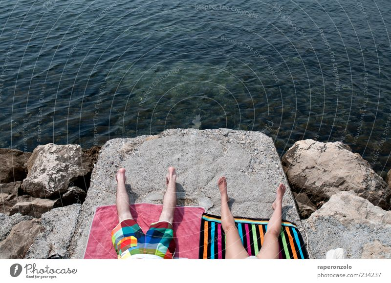 We're not here for fun. Vacation & Travel Summer Summer vacation Sunbathing Ocean Masculine Couple Legs Abdomen 2 Human being Beautiful weather Warmth Rock