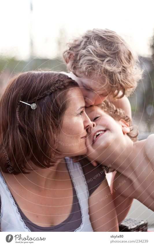 motherly love Woman Mother Child Love Near Cuddling Kissing Boy (child) Family & Relations Motherly love Joy smile To enjoy Maternal feelings