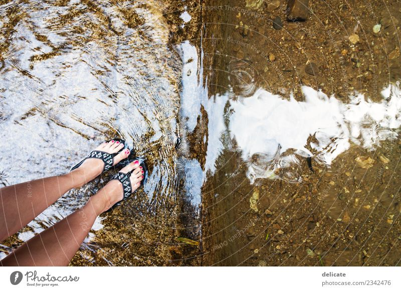 waterfall Nature Water Drops of water Waves Brook River Waterfall Flip-flops Discover Swimming & Bathing Stand Hiking Surface of water Feet Nail polish