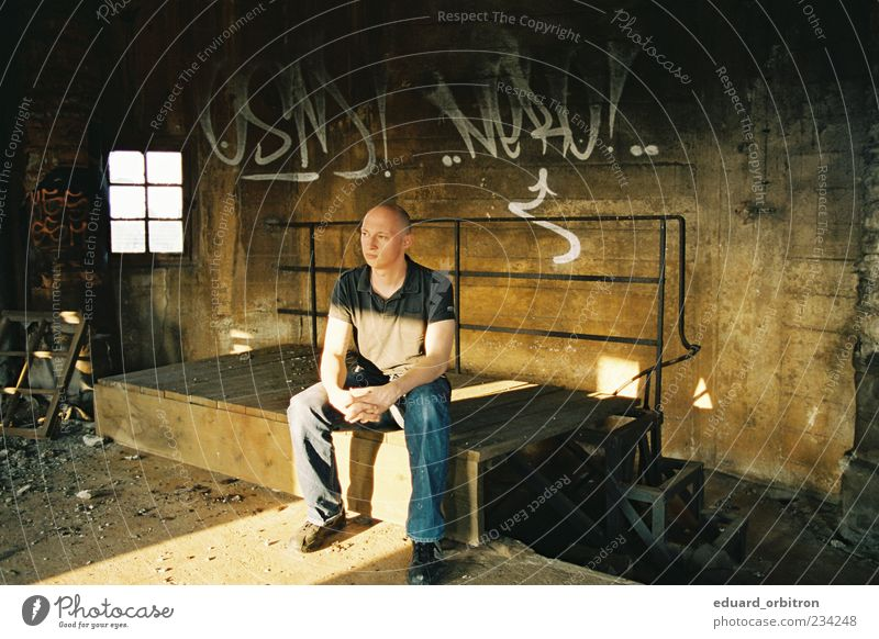 erosion Human being Masculine Man Adults 1 Factory Ruin Wall (barrier) Wall (building) Window T-shirt Pants Footwear Bald or shaved head Looking Sit Graffiti