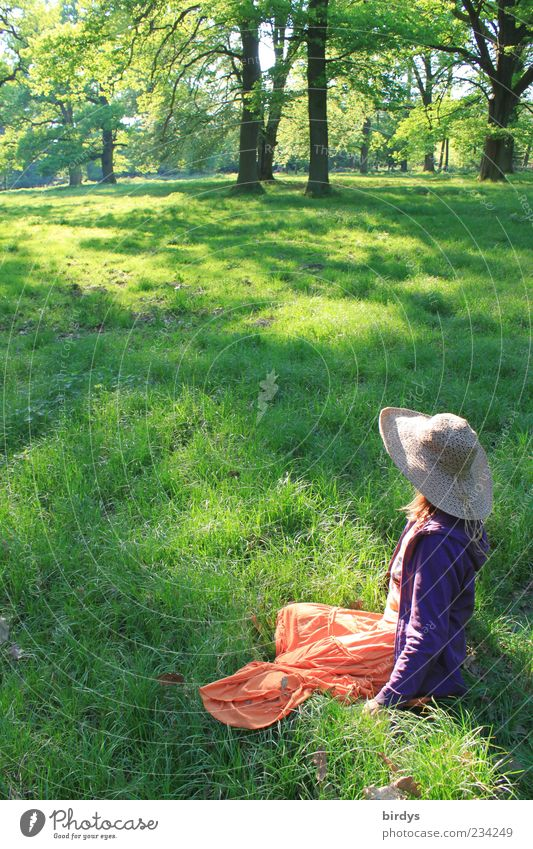 vernal Happy Human being Feminine Young woman Youth (Young adults) 1 Nature Spring Summer Beautiful weather Park Meadow Skirt Hat Long-haired Relaxation
