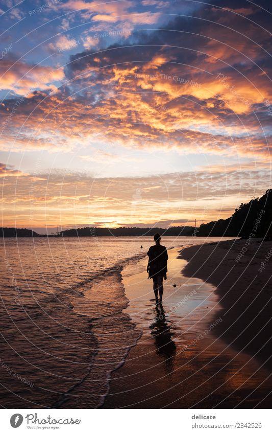 sundowner Nature Water Sky Clouds Night sky Horizon Sunrise Sunset Summer Beautiful weather Waves Coast Beach Bay Ocean Island Koh Chang Thailand Asia