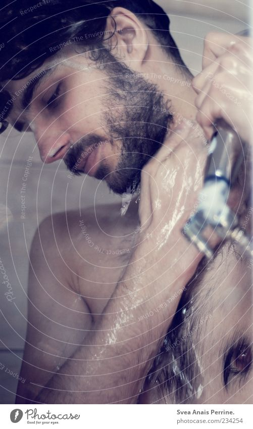 Human being Youth (Young adults) Water Adults Naked Laughter Body Skin Wet Natural Masculine Hair Drops of water 18 - 30 years Clean To hold on