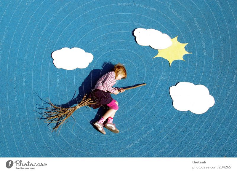 nimbus 50 Joy Trip Adventure Child 1 Human being Clouds Sun Flying Playing Fantastic Infinity Crazy Sky Broom Ride Witch Fairy tale Witch's broom Creativity
