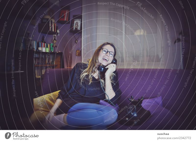 Woman Old To talk Laughter Living or residing Flat (apartment) Retro Communicate Telecommunications Telephone Sofa Analog To call someone (telephone) Former