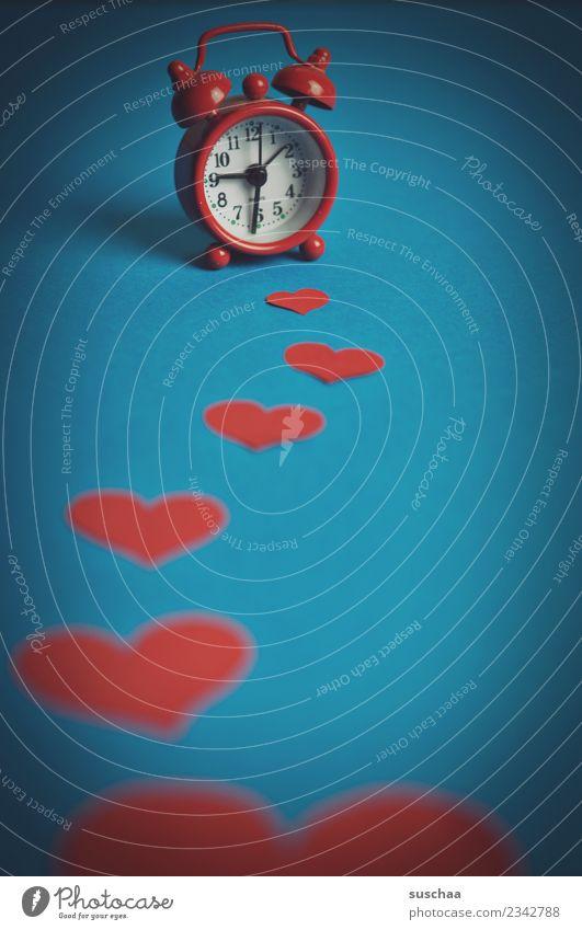 Wake me .. Symbols and metaphors Clock Alarm clock Time Alert Loud Red Heart Love Illusion Arise