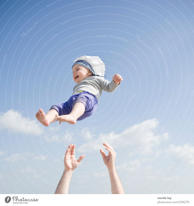 Human being Child Sky Hand Joy Adults Emotions Freedom Laughter Happy Small Family & Relations Healthy Baby Fear Infancy
