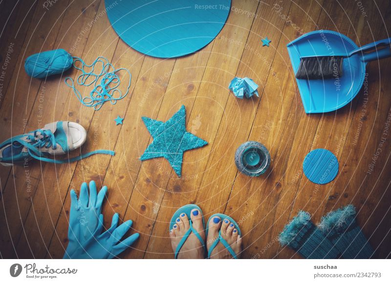 Blue Colour Footwear Star (Symbol) Paper Things Floor covering Turquoise Accumulation Wool Wooden floor Gloves Cyan Flip-flops Candle holder