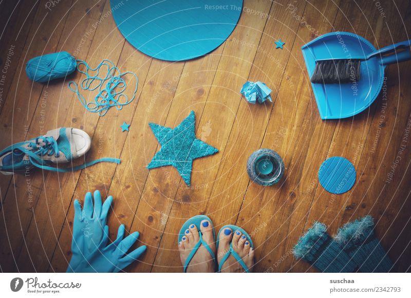 in cyan raptures Blue Turquoise Cyan Things stuff Accumulation Colour Floor covering Wooden floor feet Flip-flops broom Gloves Star (Symbol) Wool Footwear