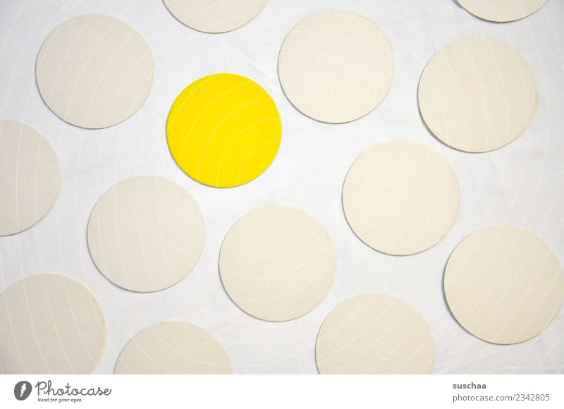The yellow dot Round Circle Point White Yellow Symbols and metaphors Colour Unicoloured Pattern exception Outsider Inclusion Integration Marginal group