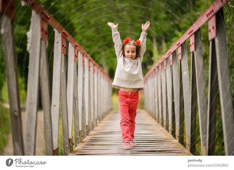 Cute little girl with four years old having fun in Nature Woman Child Human being Beautiful White Flower Joy Girl Adults Life Laughter Small Happy Playing
