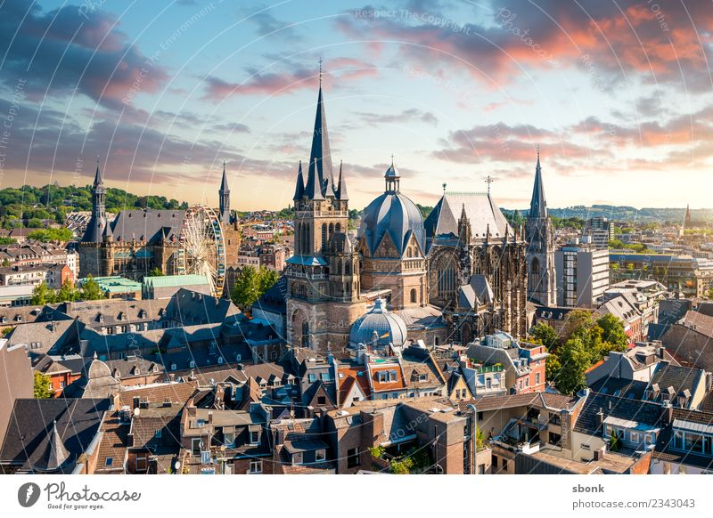 imperial city of Aachen Town Skyline Dome Vacation & Travel aces aix-la-chapelle Germany City architecture cityscape Aachen Cathedral church cathedral