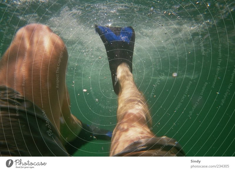 Human being Man Water Vacation & Travel Ocean Summer Adults Relaxation Legs Dive Air bubble Section of image Water wings Partially visible White crest Thigh