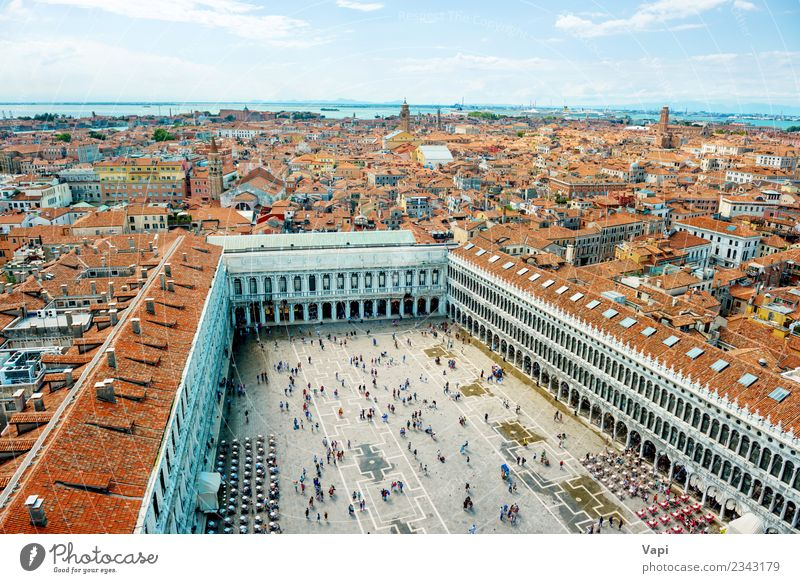 San Marco square from bell tower in Venice Sky Vacation & Travel Old Blue Summer Town Landscape White Red House (Residential Structure) Clouds Far-off places