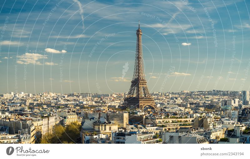 Paris City Panorama Town Capital city Tourist Attraction Landmark Monument Eiffel Tower Vacation & Travel Colour photo