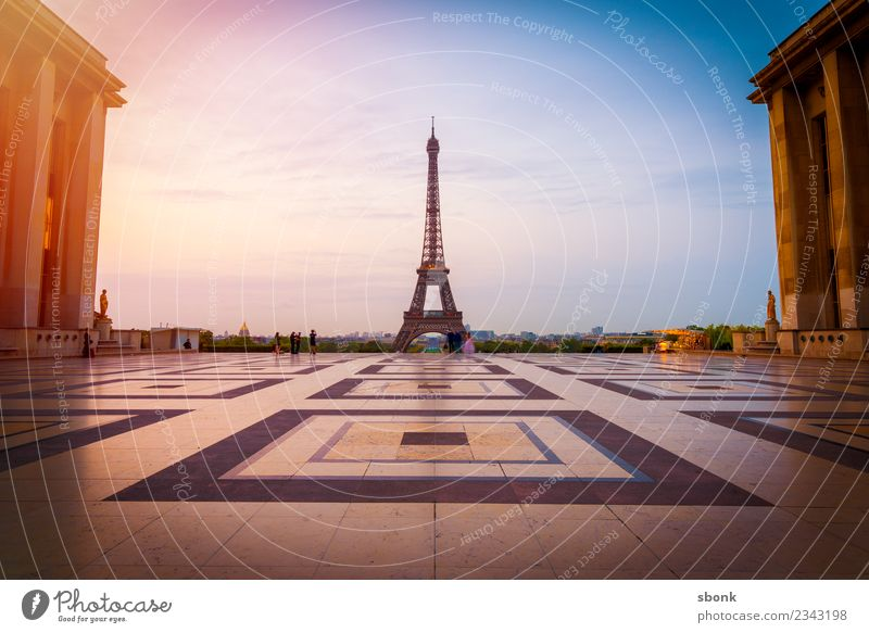 Paris in the morning France Town Capital city Skyline Manmade structures Tourist Attraction Landmark Monument Eiffel Tower Vacation & Travel City French