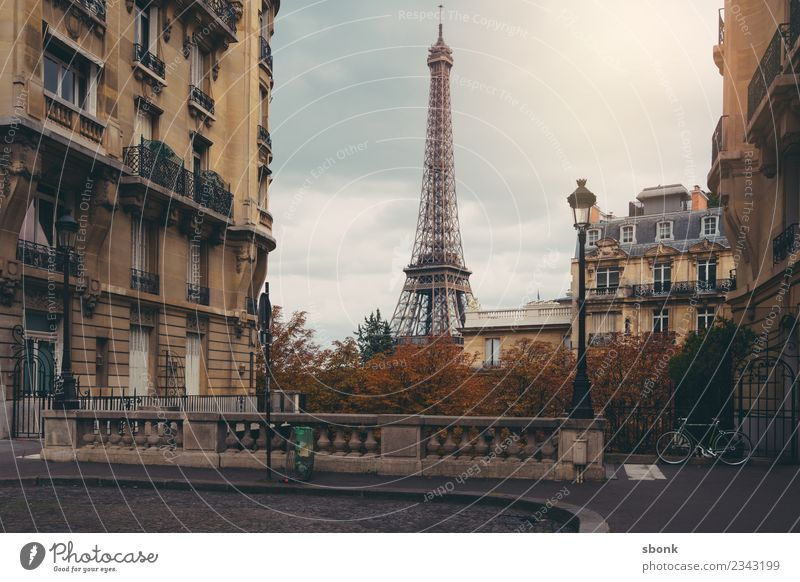 Paris Autumn Romantic Town Capital city Downtown Skyline Tourist Attraction Street Vacation & Travel Eiffel Tower City France French architecture Alley Lantern