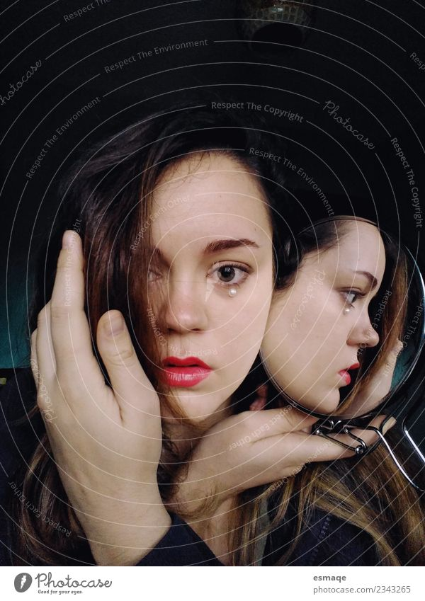 portrait of young woman with mirror Beautiful Human being Feminine Young woman Youth (Young adults) Observe Advice Think Sadness Cute Original Positive Black