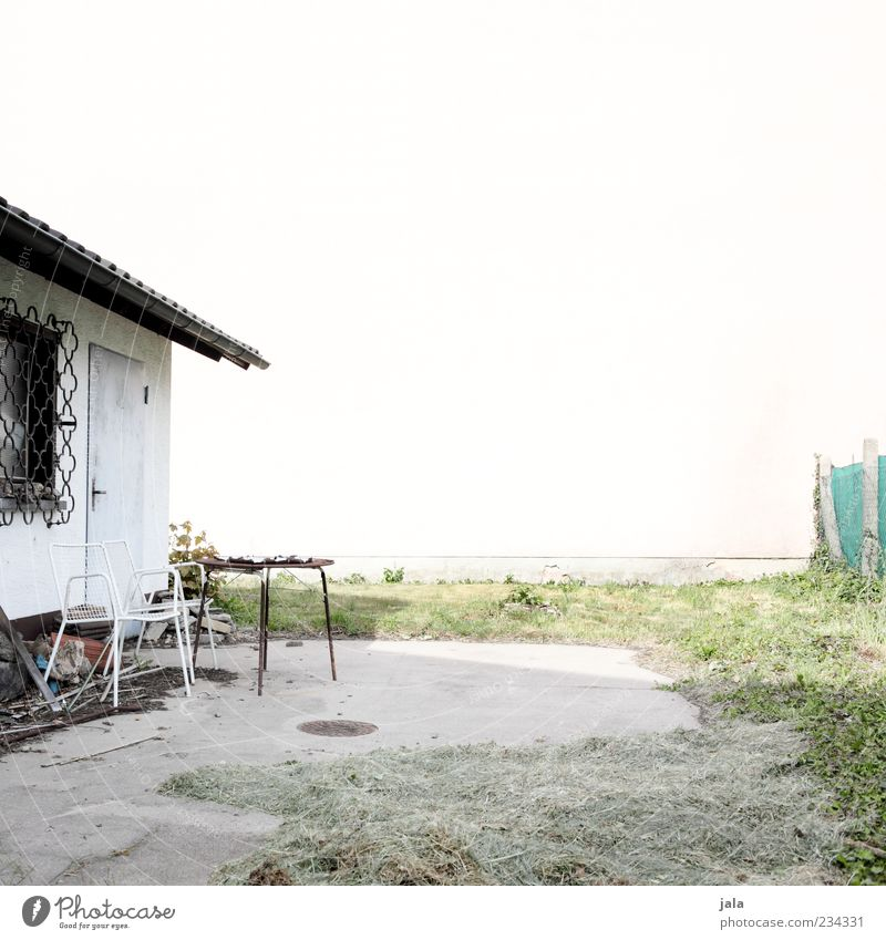 patio Chair Table Garden Meadow House (Residential Structure) Manmade structures Building Terrace Gloomy Colour photo Exterior shot Deserted Copy Space top