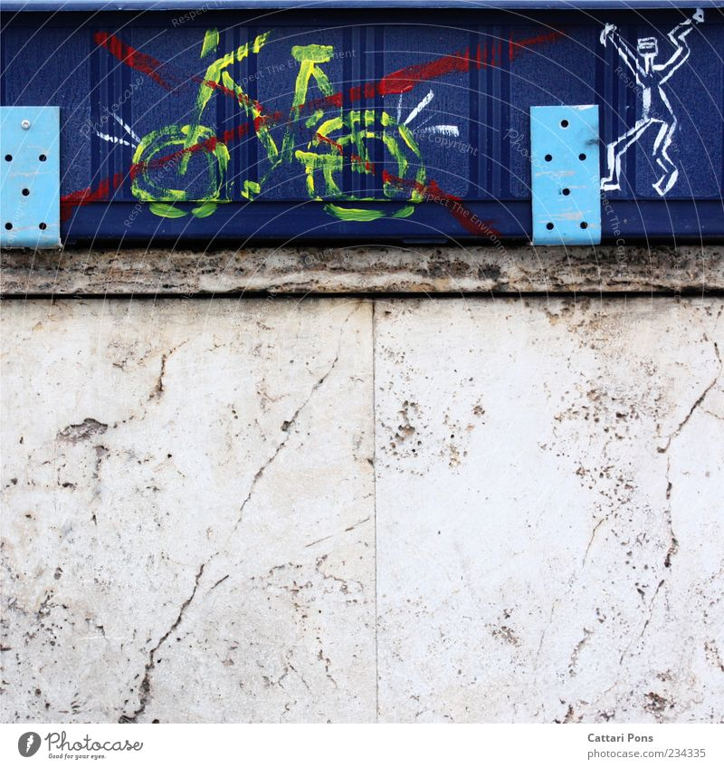 without words Bicycle Blue Yellow Drawing Bans Crucifix Stick figure Excitement Anger Wall (building) Window box Crack & Rip & Tear Colour photo Exterior shot