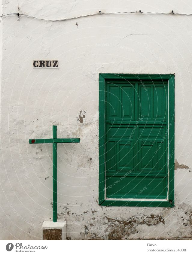 Old White Green House (Residential Structure) Wall (building) Architecture Religion and faith Wall (barrier) Door Facade Characters Cable Belief Steel cable Crucifix Entrance