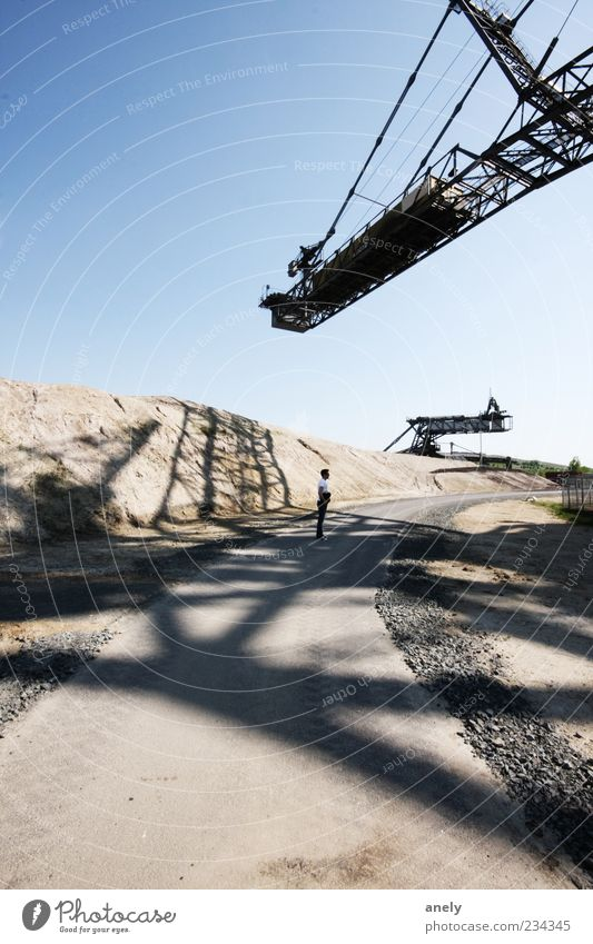 On the net Human being Masculine 1 Sand Cloudless sky Industrial plant Stone Large Historic Uniqueness Dry Blue Brown Gray Excavator Lignite Soft coal mining