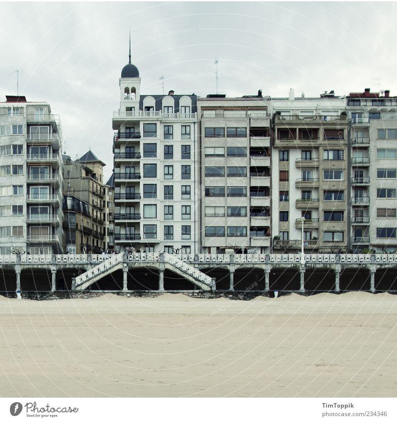 Donostia Beach Facade Gray Spain House (Residential Structure) Housefront Promenade Tower Stairs Window Basque Country Beach facilities San Sebastián