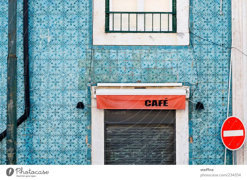 House (Residential Structure) Calm Facade Closed Characters Steel cable Tile Café Portugal Old town Gastronomy Building Lisbon Road sign Roller shutter