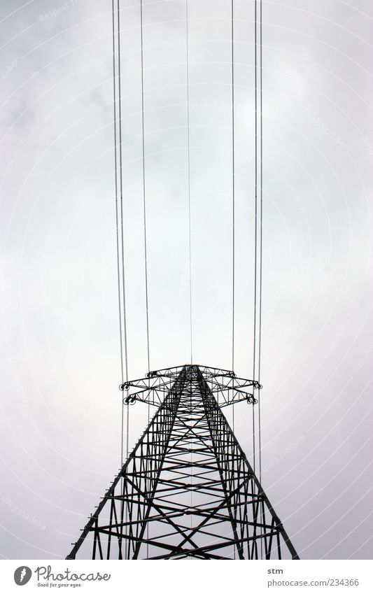 Sky Clouds Dark Gray Power Energy industry Tall Large Design Electricity Esthetic Network Might Threat Technology