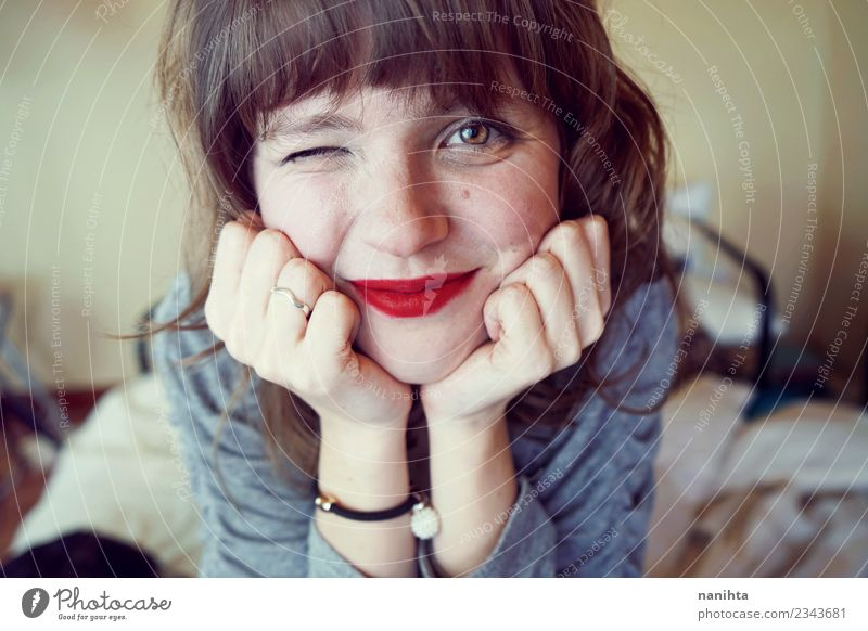 Young cute and happy woman at home Lifestyle Joy Beautiful Skin Face Lipstick Wellness Well-being Living or residing Bedroom Human being Feminine Young woman