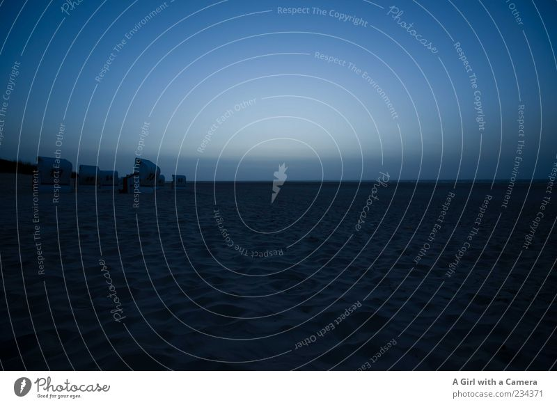 Spiekeroog l lost and cold Beach Ocean Island Nature Landscape Elements Sand Coast North Sea Authentic Dark Blue Black Calm Longing Loneliness Cold Beach chair