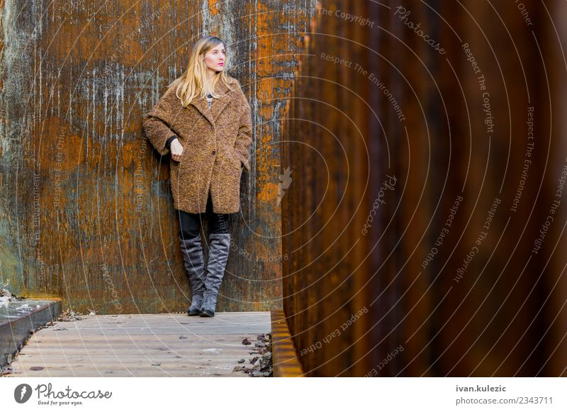 Trendy girl standing by the rusty wall Lifestyle Young woman Youth (Young adults) 1 Human being 18 - 30 years Adults Belgrade Town Downtown Old town Castle