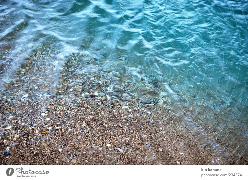 tears Water Longing Lake Lakeside Ocean Deserted Beach Reflection Surface of water Waves Water reflection Ground Copy Space bottom Pebble Sand Coast