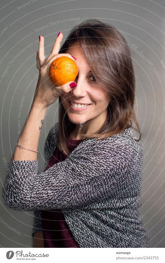 healthy girl with an orange Fruit Orange Nutrition Organic produce Vegetarian diet Diet Lifestyle Joy Beautiful Healthy Health care Healthy Eating Wellness
