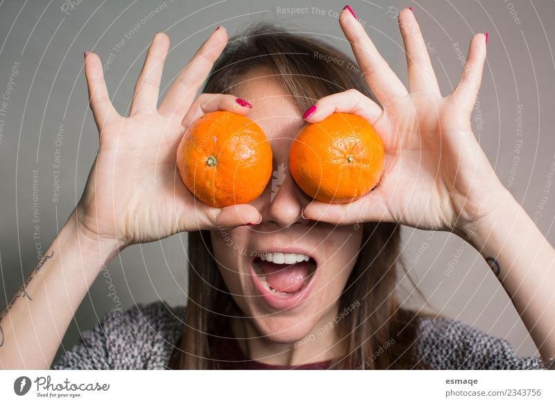 Portrait of surprised woman with oranges Woman Youth (Young adults) Young woman Joy Adults Life Lifestyle Healthy Feminine Laughter Fruit Contentment Free