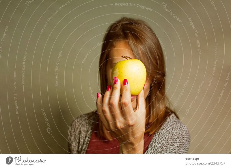 woman holding an apple Woman Colour Joy Adults Lifestyle Yellow Healthy Emotions Feminine Health care Happy Fruit Retro Fresh Authentic Happiness