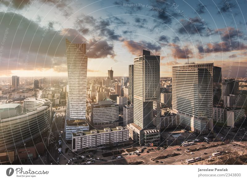 Warsaw skyline panoramic cityscape in central Poland. Sky Vacation & Travel Town Sun Street Architecture Building Business Tourism Trip Office Horizon Modern