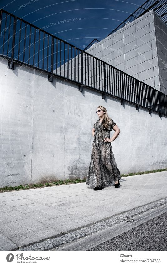 CATWALK Elegant Style Feminine Young woman Youth (Young adults) 1 Human being 18 - 30 years Adults Sky Summer Architecture Wall (barrier) Wall (building)