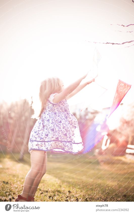 Human being Child Tree Girl Summer Far-off places Life Landscape Playing Hair and hairstyles Happy Spring Air Fashion Infancy Dance