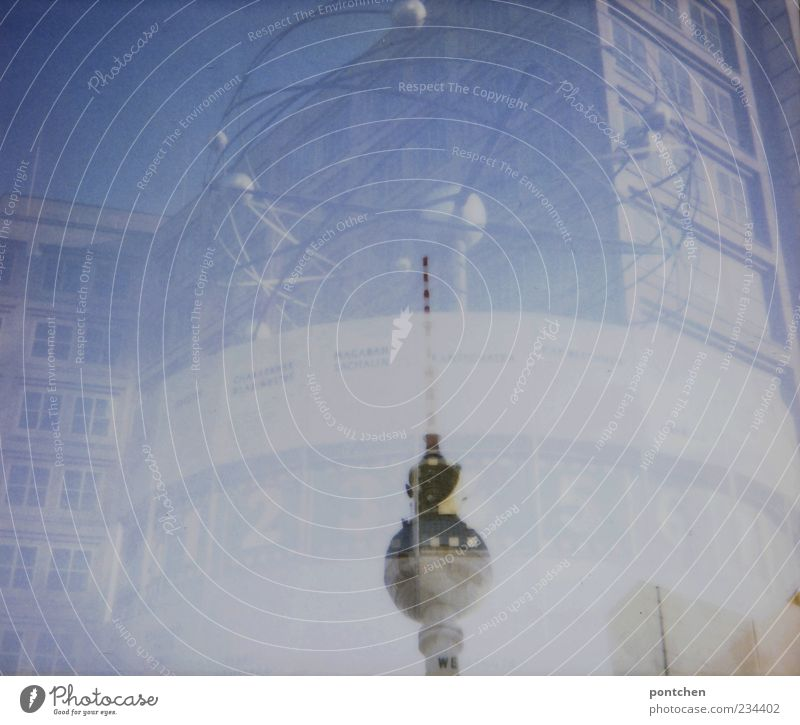 Sky Blue House (Residential Structure) Berlin Art Places Clock Exceptional Esthetic Landmark Double exposure Capital city Berlin TV Tower Television tower
