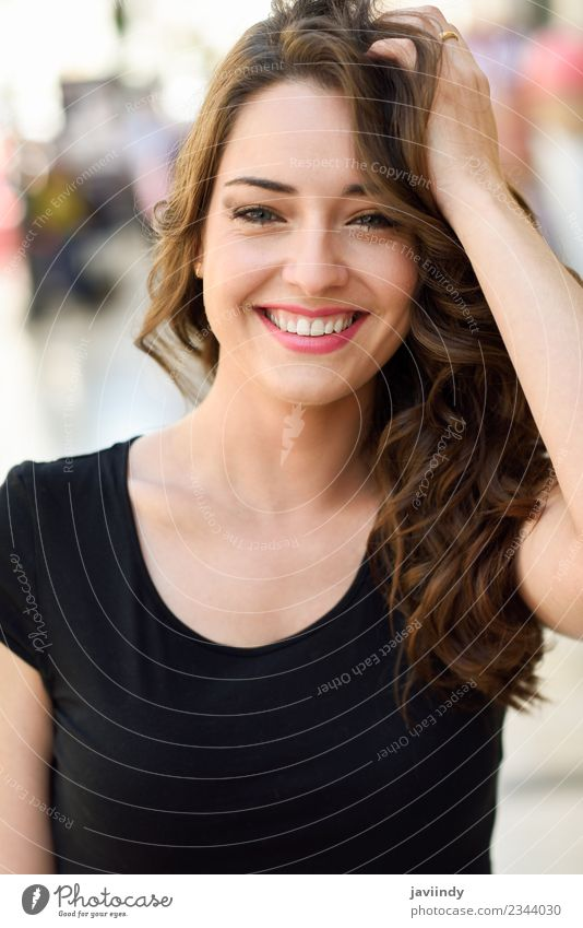 Beautiful young woman with blue eyes smiling outdoors Woman Human being Youth (Young adults) Young woman Summer White Joy 18 - 30 years Street Adults Lifestyle