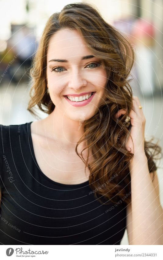 Beautiful young woman with blue eyes smiling outdoors Lifestyle Style Hair and hairstyles Summer Human being Feminine Young woman Youth (Young adults) Woman