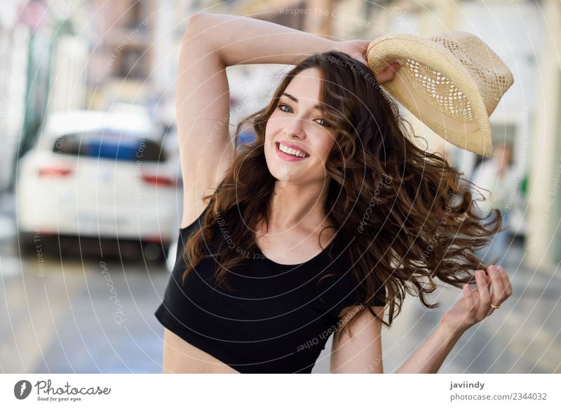 Happy young woman with sun hat outdoors Lifestyle Style Beautiful Hair and hairstyles Summer Human being Woman Adults Youth (Young adults) 1 18 - 30 years