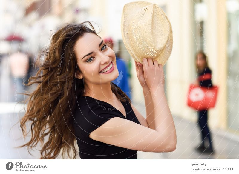 Happy young woman with sun hat outdoors Lifestyle Style Beautiful Hair and hairstyles Summer Human being Feminine Woman Adults Youth (Young adults) 1