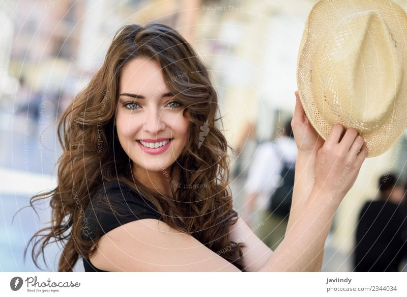 Happy young woman with sun hat outdoors Lifestyle Style Beautiful Hair and hairstyles Summer Human being Feminine Young woman Youth (Young adults) Woman Adults