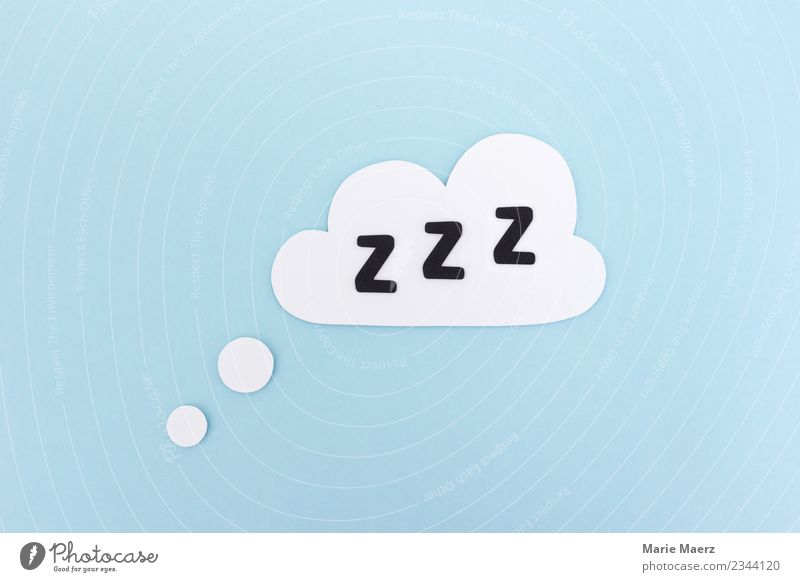 Sleep | Cloud with Z Z Z Clouds Relaxation Simple Healthy Blue White Fatigue Exhaustion Energy Dream Siesta Break paper cut Colour photo Studio shot